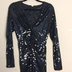 Vintage Longsleeve Sequins Party Dress Size Medium
